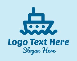 Seaport - Blue Cruise Ship  logo design