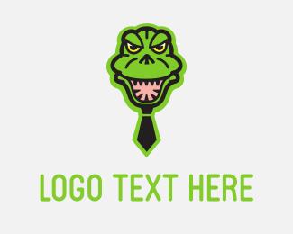 Alligator - Godzilla Tie logo design