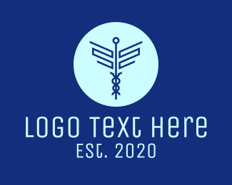 Staff Of Hermes - Blue Medical Symbol logo design