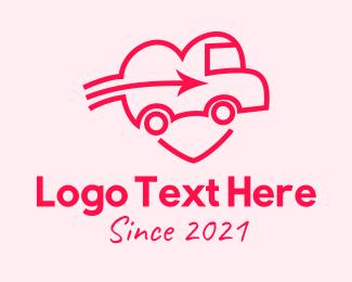 Wheels - Red Car Heart  logo design