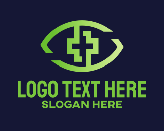 Eye - Green Cross Eye logo design