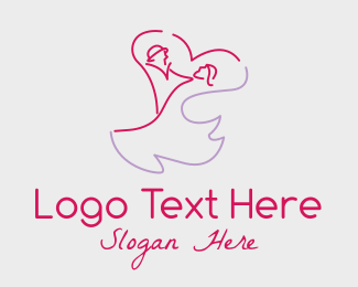Romantic - Romantic Wedding Couple  logo design