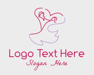 Dancing - Romantic Wedding Couple logo design