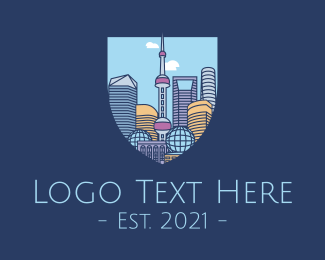 High Rise - Shanghai China City logo design