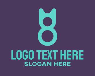 Number 8 - Cat Number 8 logo design