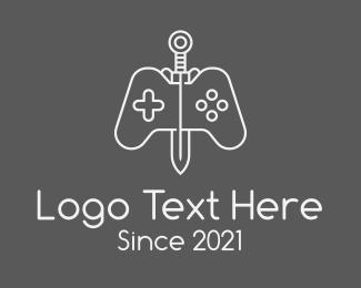 Control Pad - Minimalist Sword Console logo design