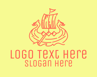 Ship - Vintage Viking Ship logo design