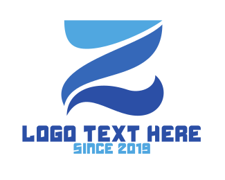 Surfing - Blue Curvy Z logo design