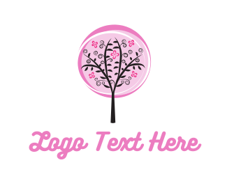 Black And Pink - Pink Cherry Blossom Tree logo design