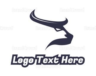 Buffalo - Abstract Blue Horns logo design