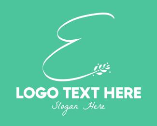 Letter E - Floral Letter E logo design