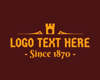 Vintage - Golden Medieval Castle Text logo design