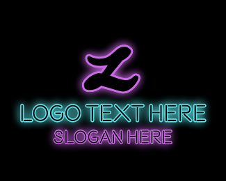 Glam - Neon Letter Text logo design