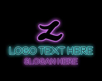 Gamble - Neon Letter Text logo design