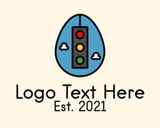 Road Sign - Stoplight Easter Egg logo design