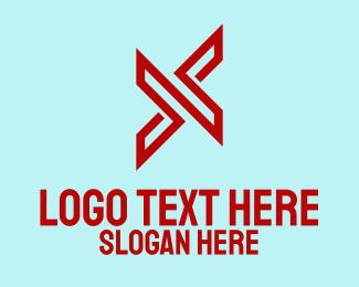 Reverse - Red Arrow Letter X  logo design