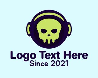 Headphone - Skull Astronaut Helmet logo design