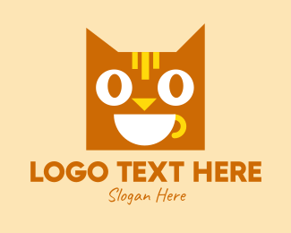Joy - Happy Coffee Cat logo design