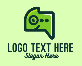 Zoo Animal - Green Gecko Messaging logo design
