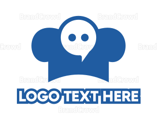 Text Message - Blue Chef Messaging logo design