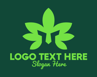 Green Helmet - Green Cannabis Leaf Warrior Helmet logo design
