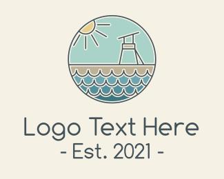 Lifeguard - Beach Lifeguard Tower logo design