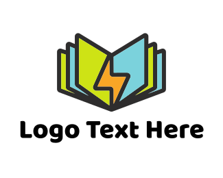 Online Learning - Power Book Pages logo design