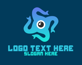 Squid - Eye Tentacles logo design