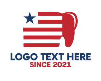 Punctuation Mark - Patriotic USA Dental logo design