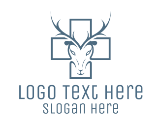 Black Moose - Cross & Deer logo design