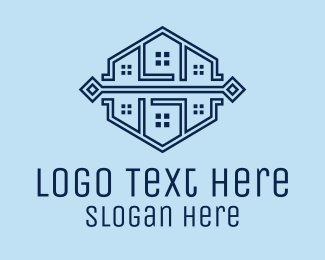 Town House - Symmetrical House Neighborhood logo design