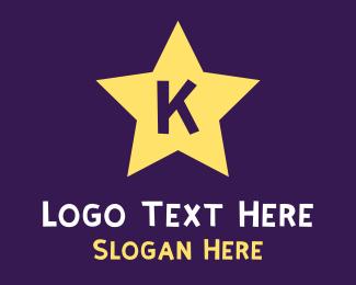 Yellow Star - K Star logo design