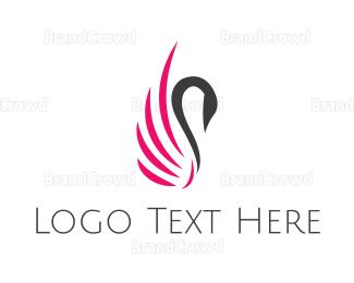 Duck - Pink Swan  logo design