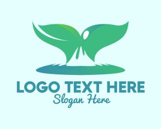 Whale - Ocean Whale Tail  logo design