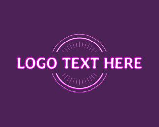 Disco - Neon Text Bar Wordmark logo design