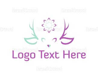Antlers - Flower Deer  logo design