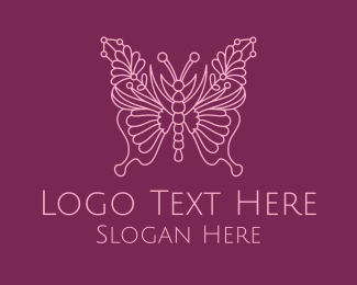 Fashion - Floral Butterfly Wings  logo design