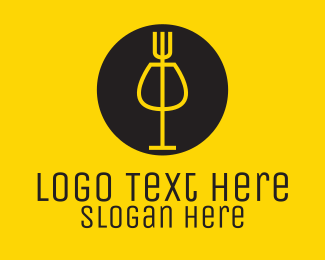 Pub - Fork & Wine logo design