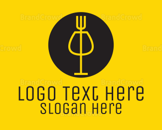 Wine - Fork & Wine logo design
