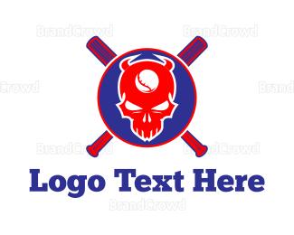 Cricket Bat - Baseball Skull logo design