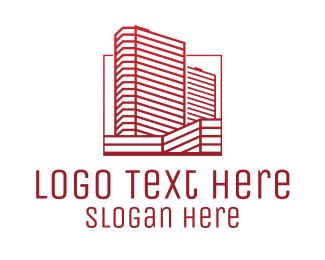 Urban Planner - Red Skyscraper Building  logo design