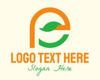 Gardening Tools - Leaf Letter E  logo design