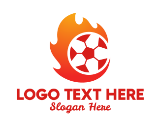 Flaming - Flaming Soccer Football Ball logo design