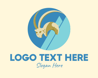 Ibex - Mountain Goat Circle  logo design