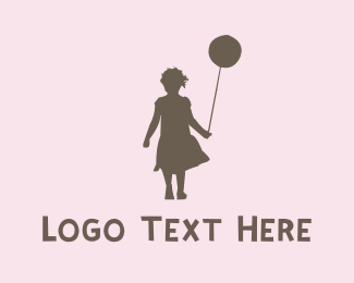 Doll - Girl & Ballon logo design