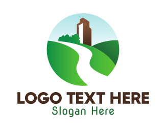 Green Mountain - Green Hill Mountain Badge logo design