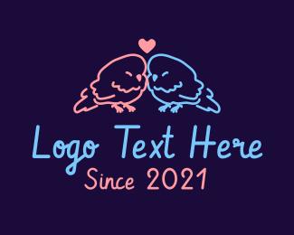 Wedding - Cute Wedding Lovebirds logo design