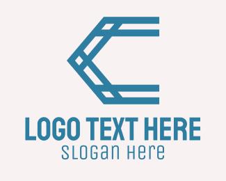 Framework - Blue Truss Letter C logo design