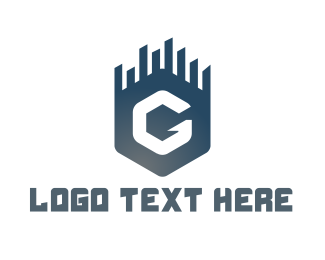 Skyline - Blue G Hexagon logo design
