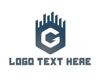 Buildings - Blue G Hexagon logo design